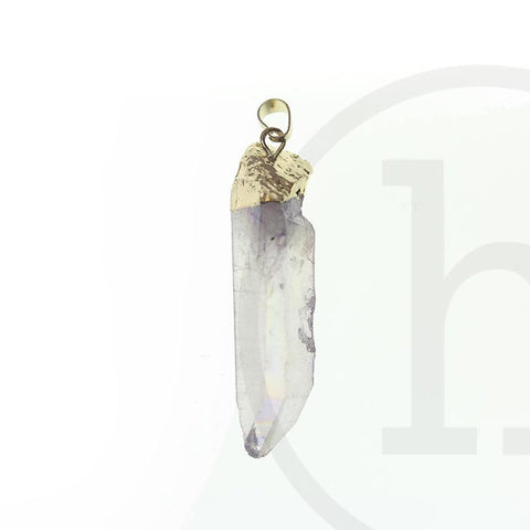 14mm, 14x50mm approx., 50mm, Lavender, Metal, Pendant, Point, Purple, Quartz Crystal, Semi-precious, Semiprecious