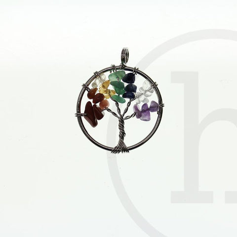 33mm, Agate, Aventurine, Lapis, Mixed stone: Amethyst, Multi, Pendant, Semi-precious, Semiprecious, Tiger Eye, Tree of life