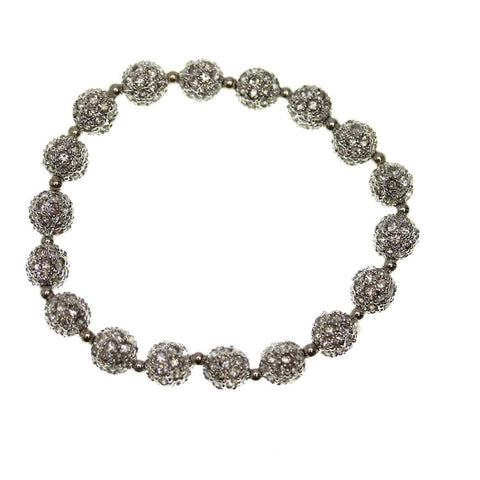 Crystal Glass and Silver Plated Metal Pave 8mm
