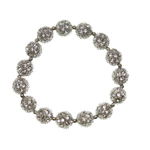 Crystal Glass and Silver Plated Metal Pave 10mm
