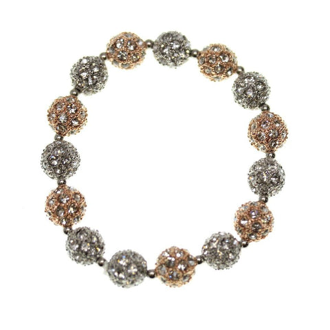 Crystal Glass and Silver with Rose Gold Plated Metal Pave 10mm