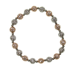 Crystal Glass and Silver with Rose Gold Plated Metal Pave 8mm