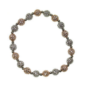 Crystal Glass and Silver with Rose Gold Plated Metal Pave 6mm Bracelets by Bead Gallery