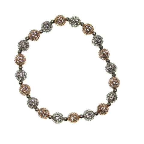Crystal Glass and Silver with Rose Gold Plated Metal Pave 6mm