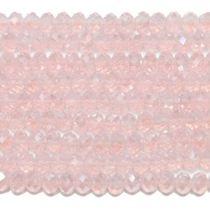Pink with RB Luster Faceted Glass Rondell 4x6mm