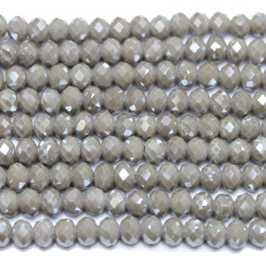 Light Grey Opaque Faceted Glass Rondell 4x6mm