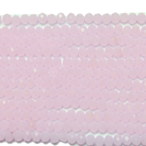 Pink Opaque Faceted Glass Rondell 2x3mm
