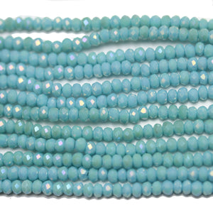 Medium Aqua Opaque with RB Luster Faceted Glass Rondell 2x3mm
