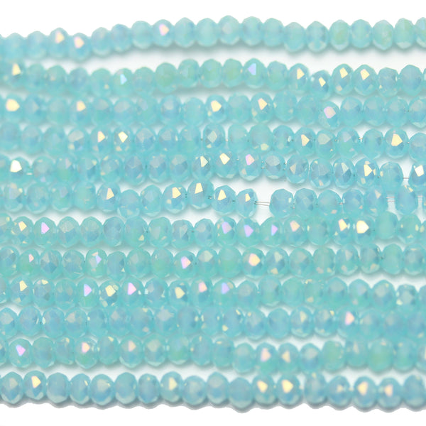 Light Aqua with RB Luster Faceted Glass Rondell 2x3mm