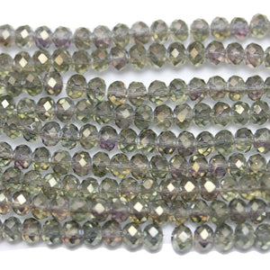 Olive Topaz with Luster Faceted Glass Rondell 3x4mm