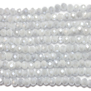 Sky Grey with Luster Faceted Glass Rondell 3x4mm