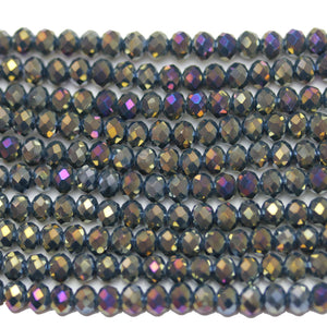 Dark Grey with RB Luster Faceted Glass Rondell 3x4mm
