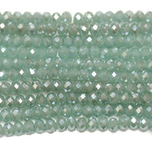 Green Aqua with Luster Faceted Glass Rondell 3x4mm