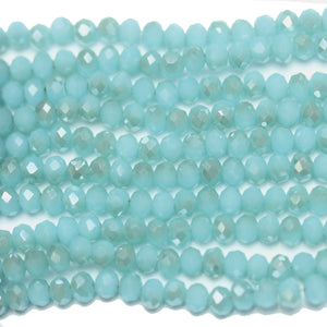 Blue Aqua with Luster Faceted Glass Rondell 3x4mm