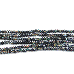 Black with Rainbow Iris Faceted Glass Rondell 1.6x2.5mm Beads by Halcraft Collection