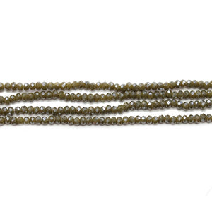 Olive Faceted Glass Rondell 1.6x2.5mmBeads by Halcraft Collection