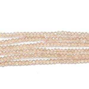 Rose Luster Faceted Glass Rondell 2x3mm Beads by Halcraft Collection