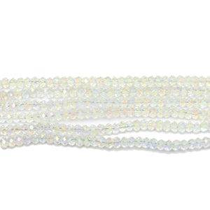 Crystal AB Faceted Glass Rondell 2x3mm Beads by Halcraft Collection