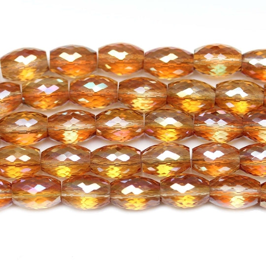 Amber with Luster Glass Many Faceted Oval 8x12mm Beads by Halcraft Collection