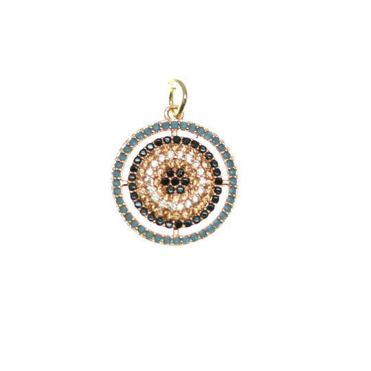 Crystal, Black, Blue Cubic Zirconia (Cz) Rhinestones In Silver Tone Metal CirclePendant by Bead Gallery