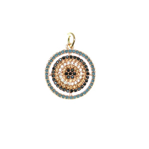 Crystal, Black, Blue Cubic Zirconia (Cz) Rhinestones on Rose Gold Tone Metal CirclePendant by Bead Gallery