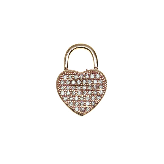Crystal Cubic Zirconia (Cz) Rhinestones on Rose Gold Tone Metal HeartPendant by Halcraft Collection