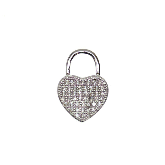 Crystal Cubic Zirconia (Cz) Rhinestones on Silver Metal HeartPendant by Bead Gallery