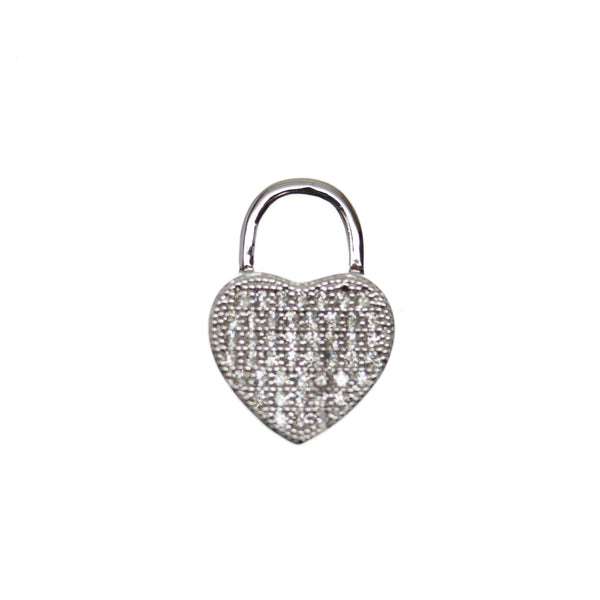 13mm, 19mm, Crystal, Cubic Zirconia, CZ, Heart, Metal, Pendant, Silver Tone, Stone, Stone Pendant