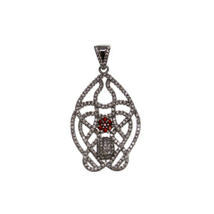 Crystal and Red Rhinestone Filigree ShapePendant by Halcraft Collection
