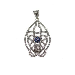 Crystal and Blue Rhinestone Filigree ShapePendant by Halcraft Collection