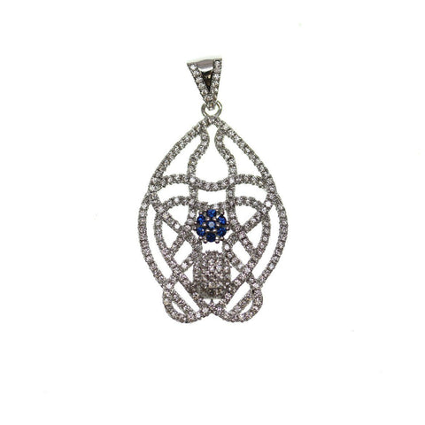 23mm, 35mm, Blue, Crystal, Glass, Metal, Oval, Pendant, Sapphire, Stone, Stone Pendant