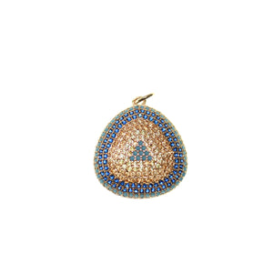 Amber and Blue Cubic Zirconia (Cz) on Rose Gold Tone Metal 23mm Pendant by Bead Gallery