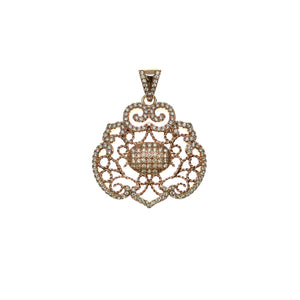 28mm, 30mm, Crystal, Cubic Zirconia, CZ, Flat oval, Metal, Pendant, Rose Gold, Rose Tone, Stone, Stone Pendant