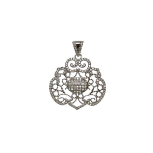 28mm, 30mm, Crystal, Cubic Zirconia, CZ, Flat oval, Metal, Pendant, Silver Tone, Stone, Stone Pendant