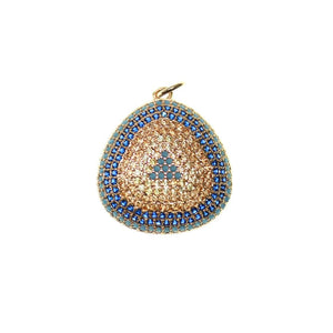 Crystal and Blue Cubic Zirconia (Cz) on Silver Tone Metal 28x30mm Pendant by Bead Gallery
