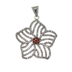 Crystal and Red Rhinestone Star Shape 30mm Pendant by Bead Gallery