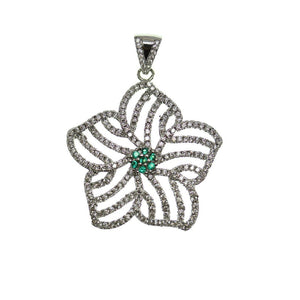 Crystal and Green Rhinestone Star Shape 30mm Pendant by Halcraft Collection