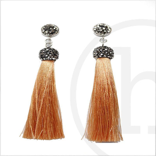 Light Mustard Polyester Tassels with Rhinestones and PostEarrings by Bead Gallery