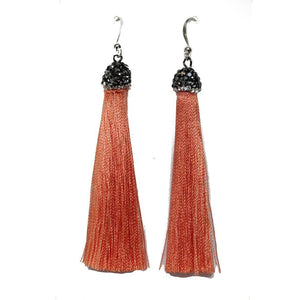Bright Pink Polyester Tassels with RhinestonesEarrings by Halcraft Collection