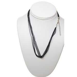 Black Ribbon and Waxed Cotton Cord 18 Inch with 2 Inch Extender ChainNecklace by Bead Gallery