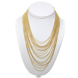 Gold Tone Ball Chain Layered Necklace with 3 Inch Extender Chain