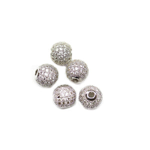 Silver Crown Round with Crystal Rhinestone 10mm Beads
