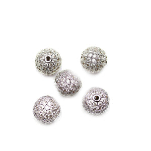 Silver Crown Round with Crystal Rhinestone 12mm Beads