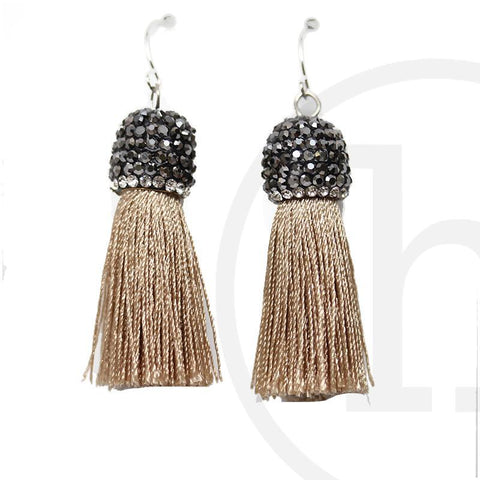 Tan Polyester Tassels with Rhinestones