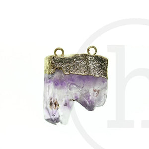 Amethyst Semi-precious with Gold Tone Top 2 HolePendant by Bead Gallery