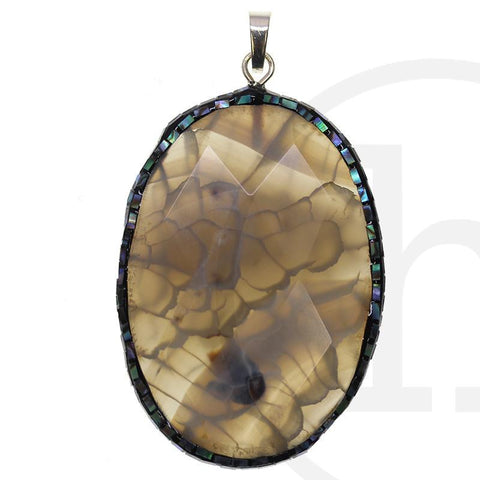 Smokey Dyed Crackle Agate with Abalone Edge 36x58mm