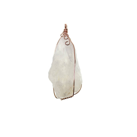 25mm, 25x60mm, 25x60mm approx., 60mm, Crystal, Crystal Quartz, Drop, Metal, Pendant, Pendants, Quartz, Rose Gold, Semi-precious, Semiprecious, Stone, Stone Pendant, Stone Pendants, White