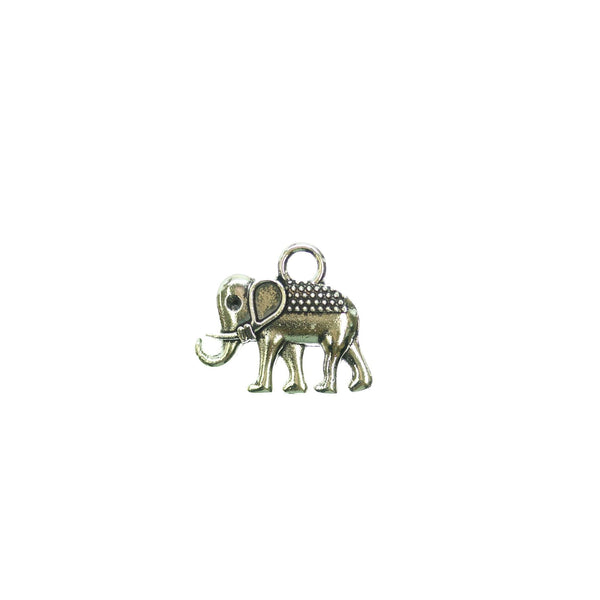 14mm, 16mm, Antique Silver Plated, Charm, Elephant, Metal, Silver