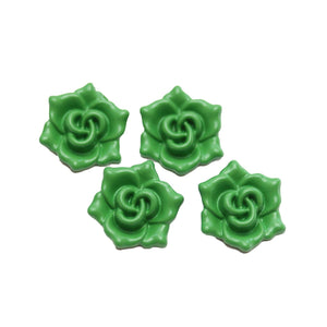 Turquoise Green Painted Zinc Alloy Metal Flower 16x18mm Charms - 4pcsCharm by Halcraft Collection