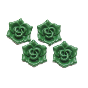 Dark Green Painted Zinc Alloy Metal Flower 16x18mm Charms - 4pcsCharm by Halcraft Collection